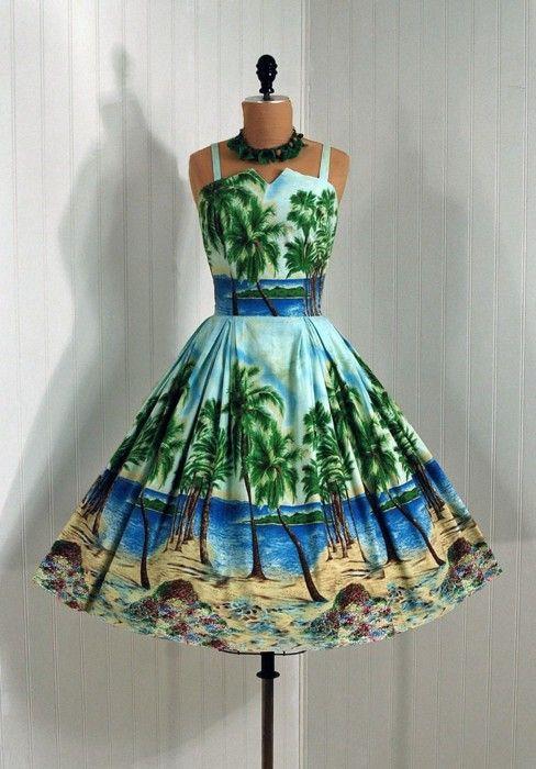 "1950's ""Flair"" Hawaiian Cocktail Length Dress, love.   Hawaiian ..."