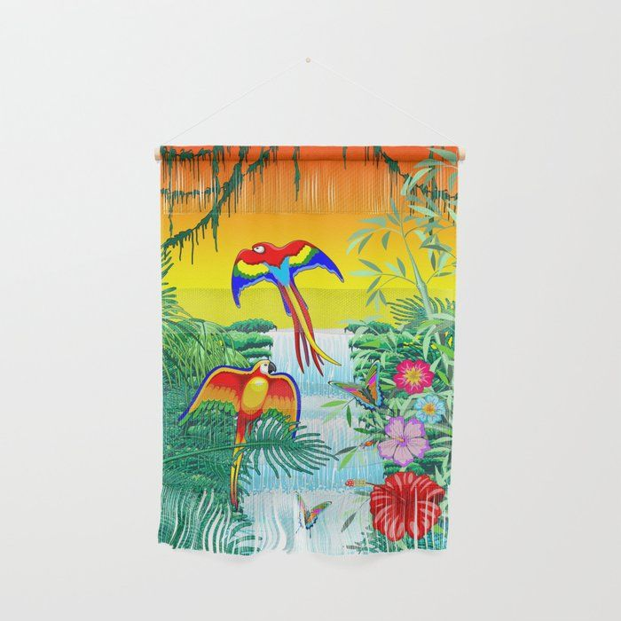 Waterfall Macaws and Butterflies on Exotic Landscape in the Jungle Naif Style Wall Hanging by bluedarkatlem