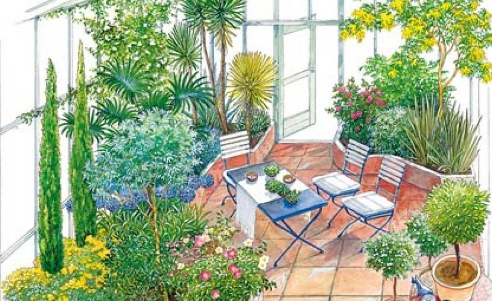 Kalter Wintergarten pflanzen arrangements für den wintergarten