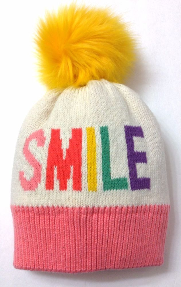 258a0100b5f New BABY GAP  SMILE  POM BEANIE Beige Pink Multi-Color Winter Knit Hat Girl  XS S  babyGap
