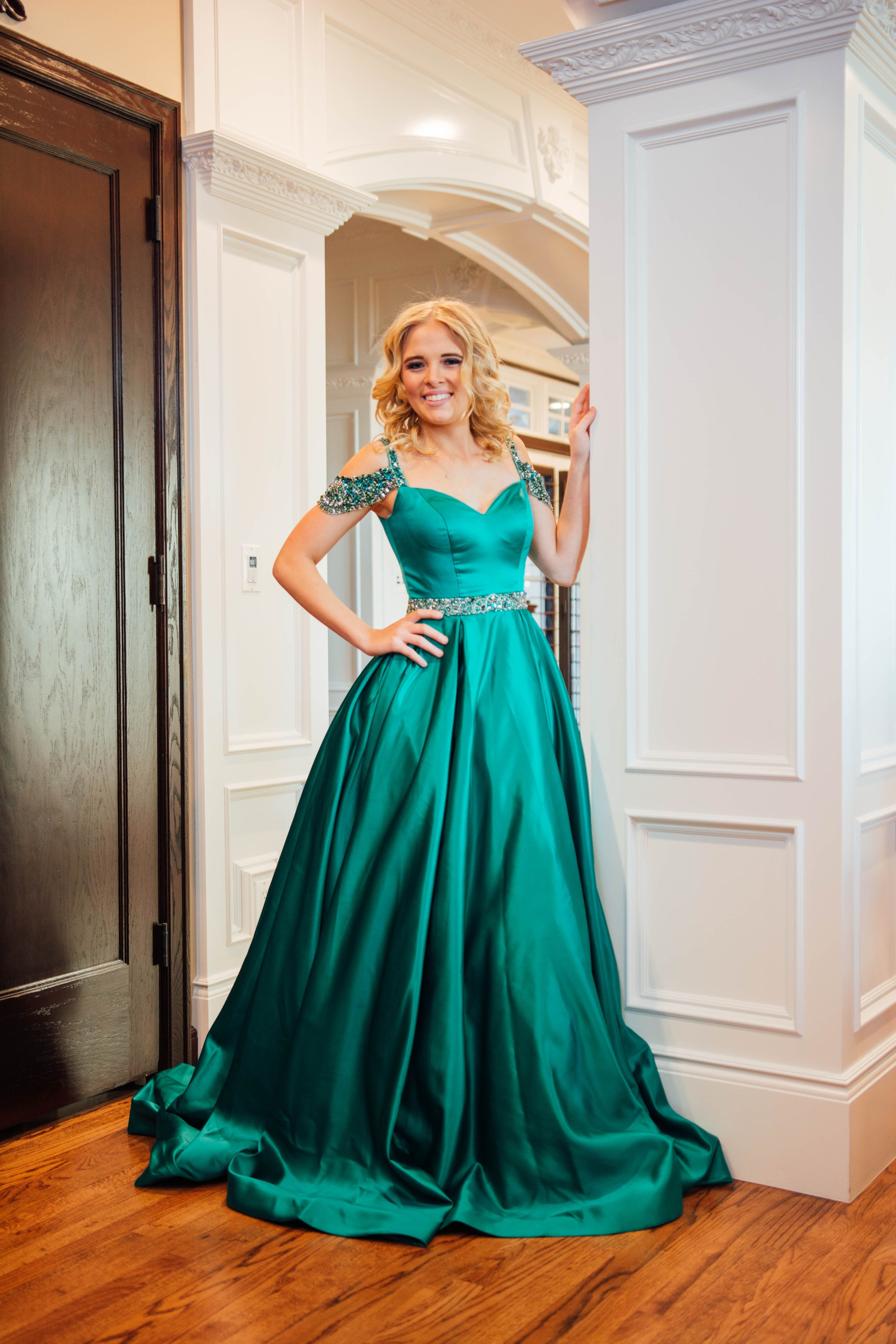 e916dc37251f Sherri Hill Green Ballgown Satin with off the shoulder beaded details  Ypsilon Dresses Pageant Prom Evening Wear Special Occasion Homecoming  Sweethearts ...