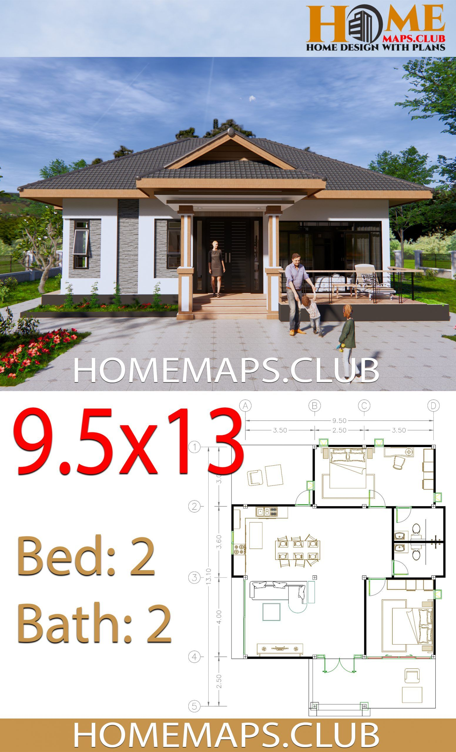 House Plans 9x13 5 With 2 Bedrooms Hip Roof Hip Roof House Plans How To Plan