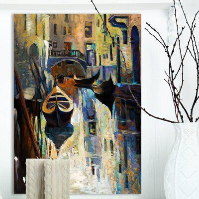 Photo of East Urban Home 'Venice Italy Houses' Oil Painting Print on Wrapped Canvas Size: 20″ H x 12″ W x 1″ D