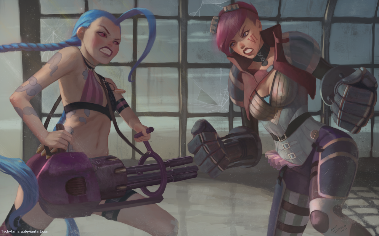 Vi and Jinx by TychyTamara.deviantart.com on @DeviantArt - More at https://pinterest.com/supergirlsart League of Legends #vi #fanart #jinx #leagueoflegends #jinxleagueoflegends #lol