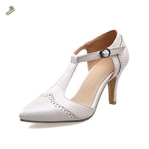Women's Buckle Pointed Closed Toe High Heels Pu Solid Pumps Shoes
