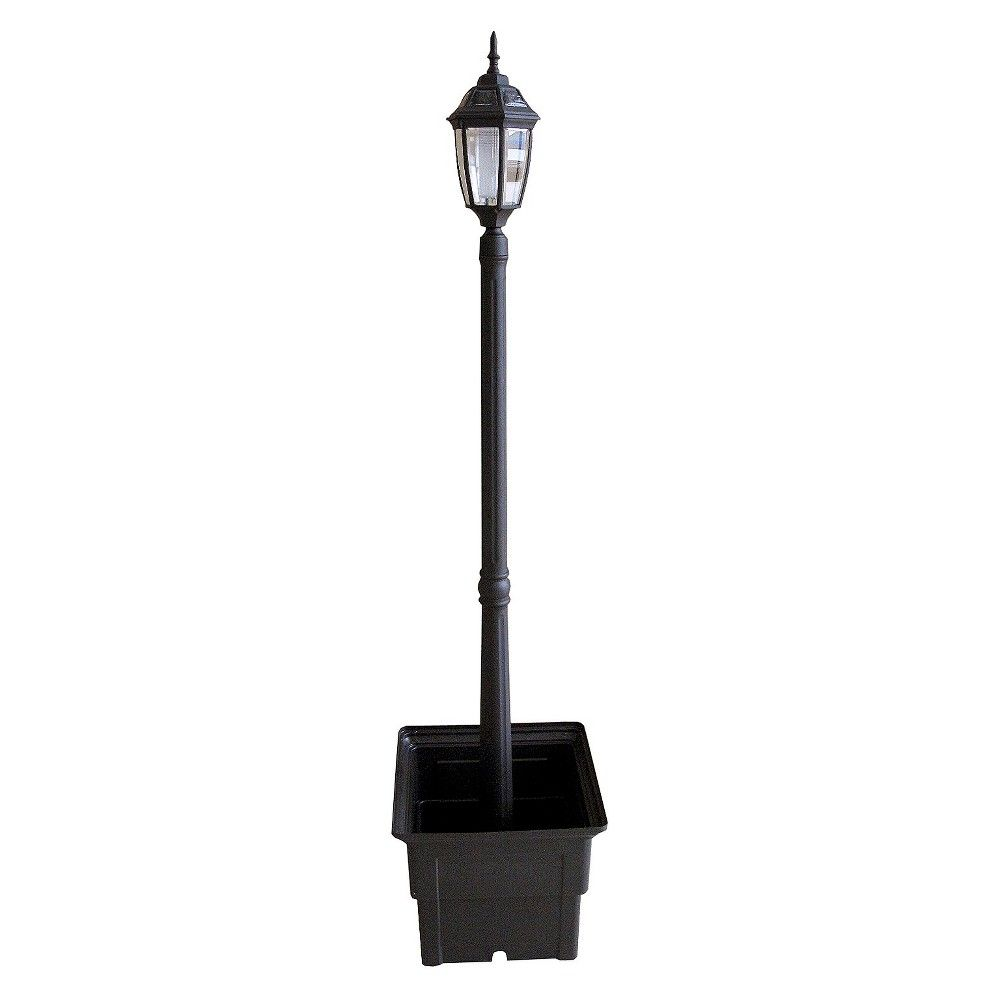 Solar Lamp Post With Square Planter, Black