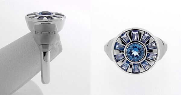 Iron Man ring with blue topaz and diamond baguettes in white gold ...
