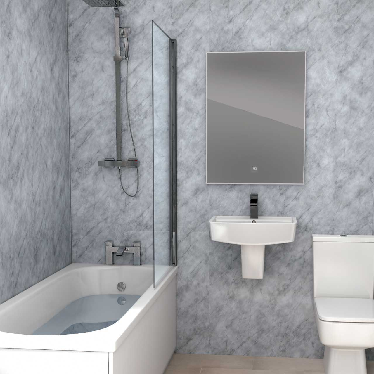 Grey Marble Wall Panel 1000mm X 2400mm X 10mm Marble Wall Modern Bathroom Dream Bathrooms