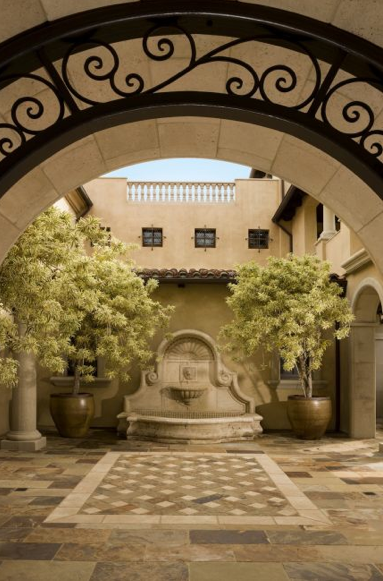 Entry Courtyard with wall fountain, Mediterranean villa - Bel Air ...