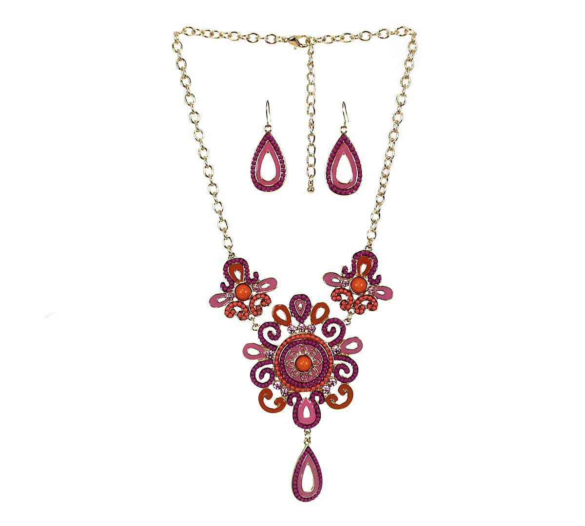 Bib necklace u earring set coral bibs
