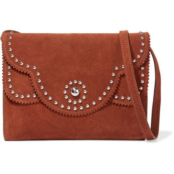Sandro Stud-embellished suede clutch bag (€185) found on Polyvore ...