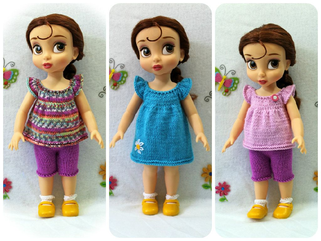 Knitting pattern for top, dress and shorts for Disney Animators ...