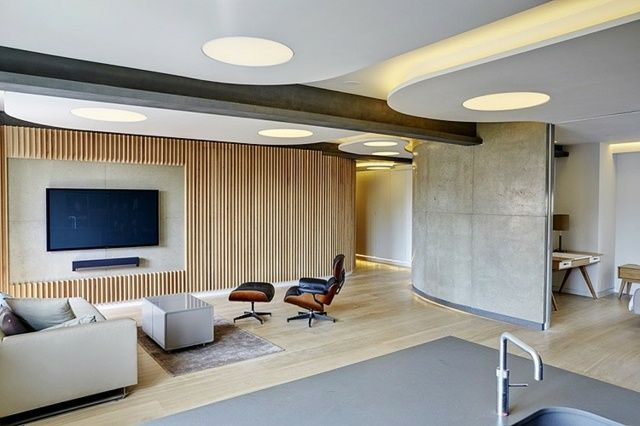 Holz Wandpaneele Wohnzimmer Einrichten Laminatboden Sthle