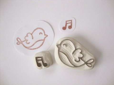 Sweet Song Bird Hand Carved Rubber Stamp Set di eatpraycreate, $7.00