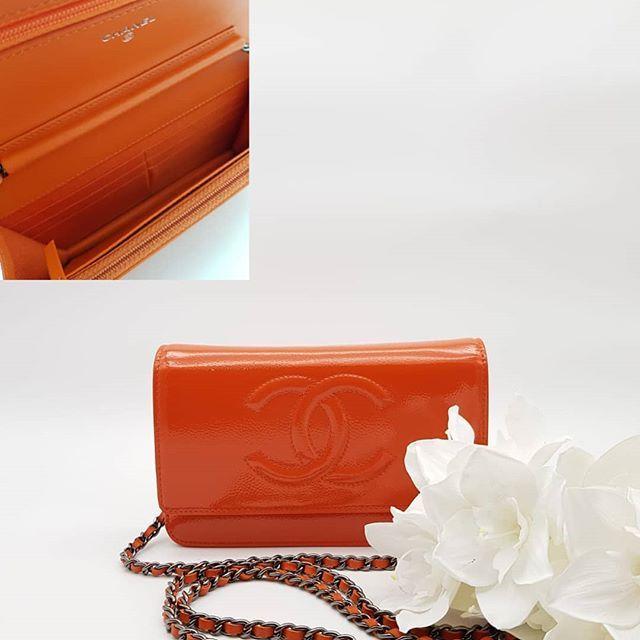 19f96a70c031f3 Preloved Chanel Timeless Wallet On Chain Mini Flap Bag Orange Patent  Calfskin Ruthenium