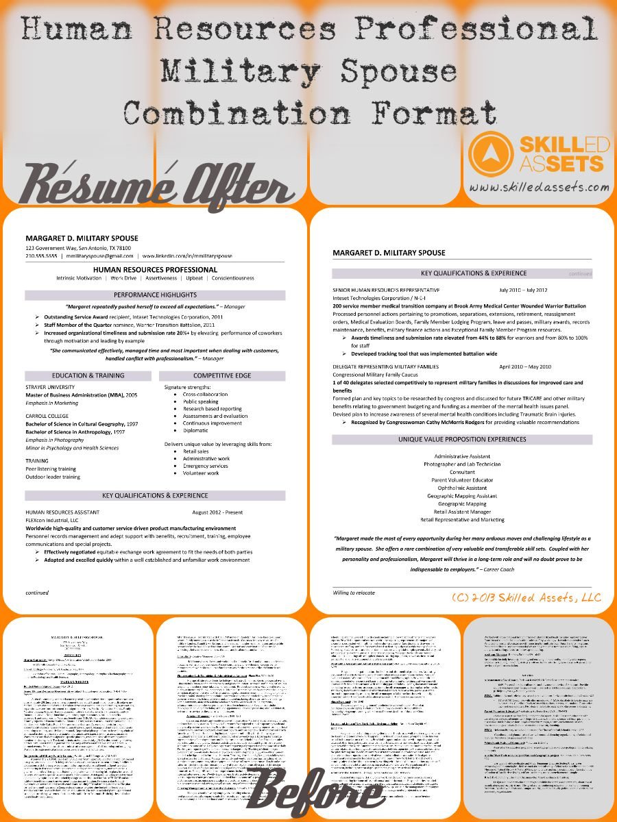Before And After Resume For Margaret D Military Spouse  Human