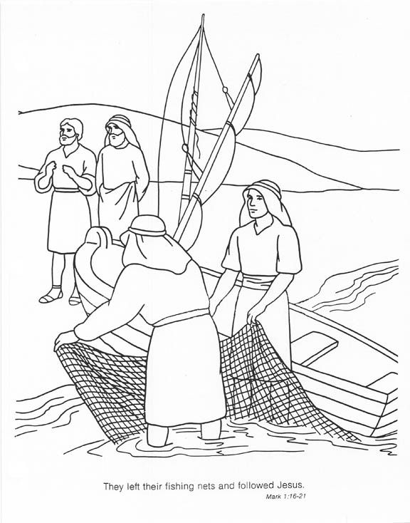 The Fishers Leave Their Position To Follow Jesus Coloring Page