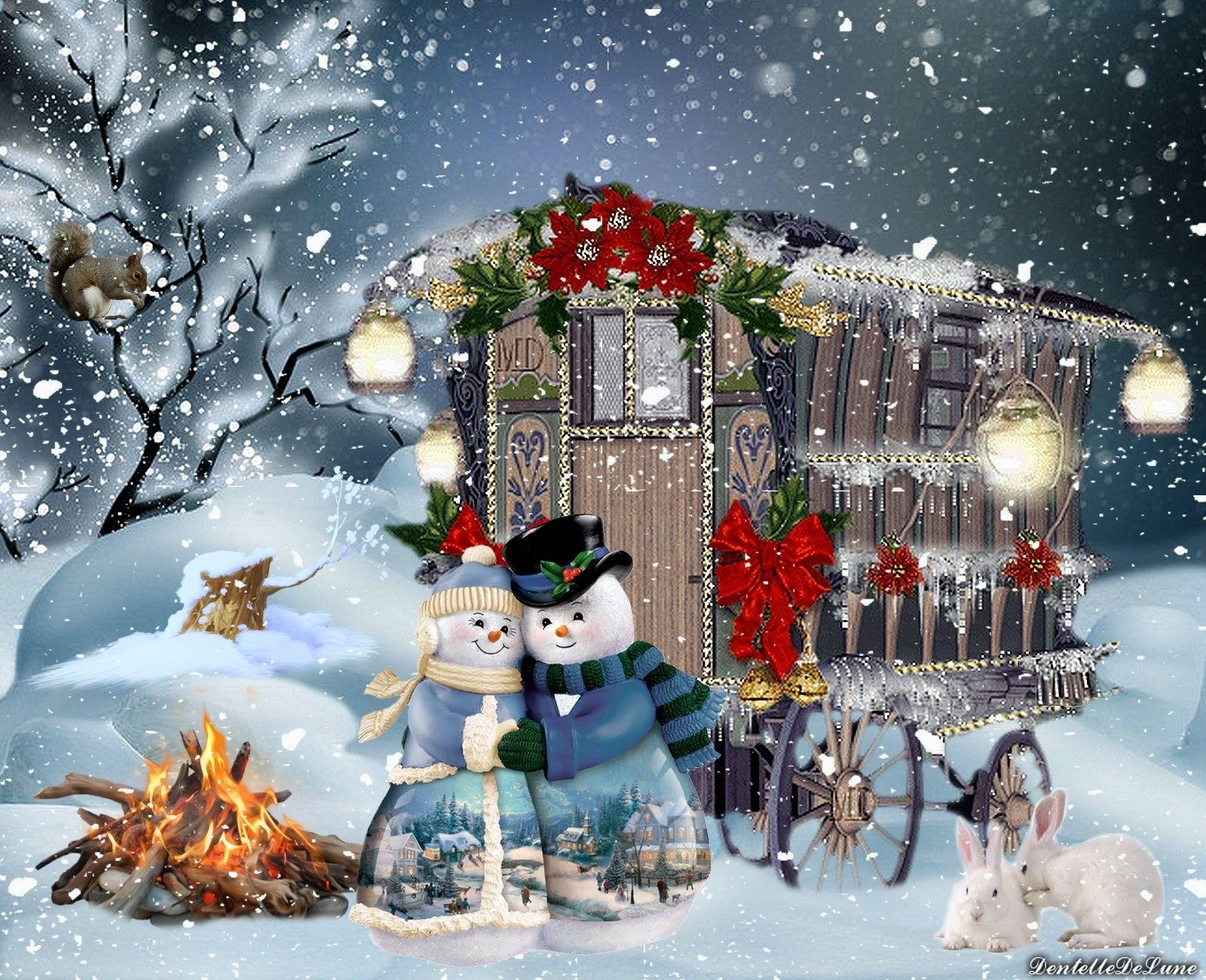 Fond D Ecran Noel Paysage Enneige Roulotte Bonhomme De Neige Gif Anime Joyeux Noel Roulotte Scintill Images De Noel Anciennes Paysage Enneige Fond Ecran Noel