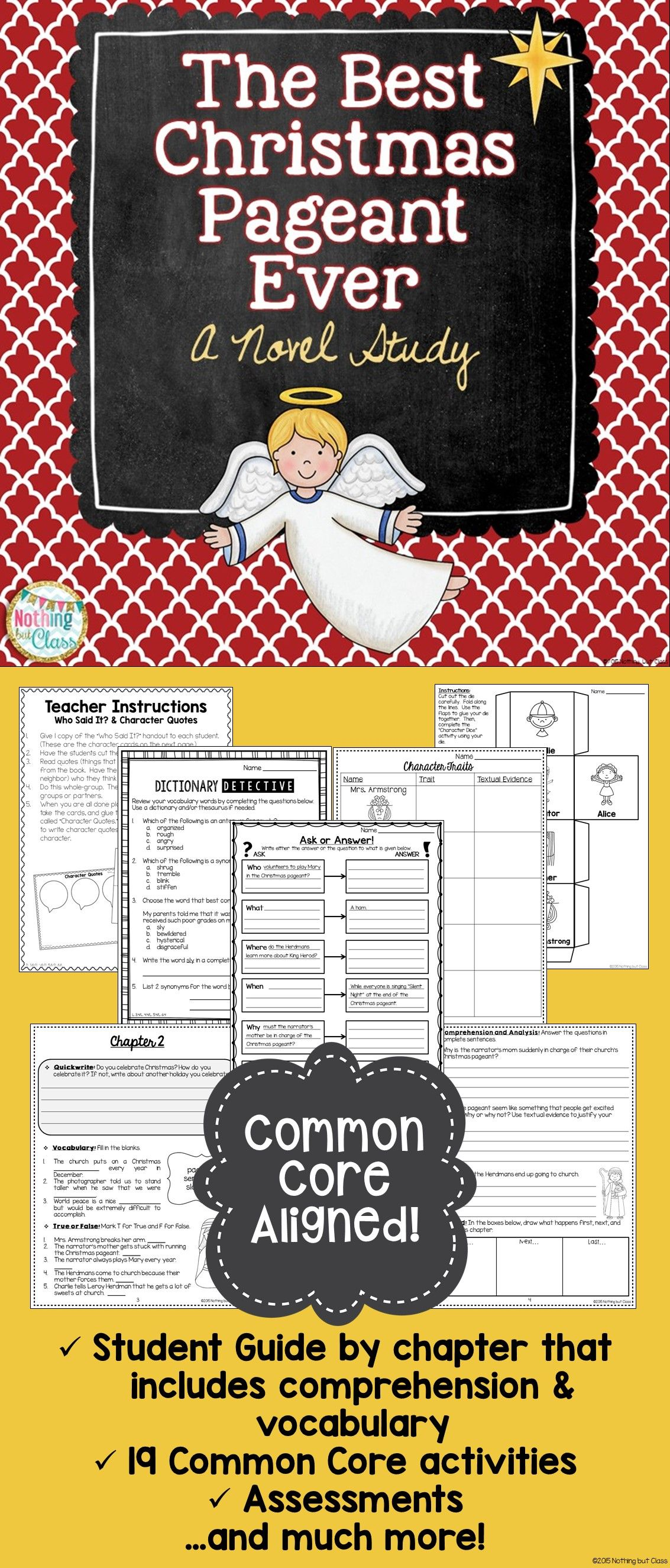 worksheet The Best Christmas Pageant Ever Worksheets the best christmas pageant ever novel study unit common core unit