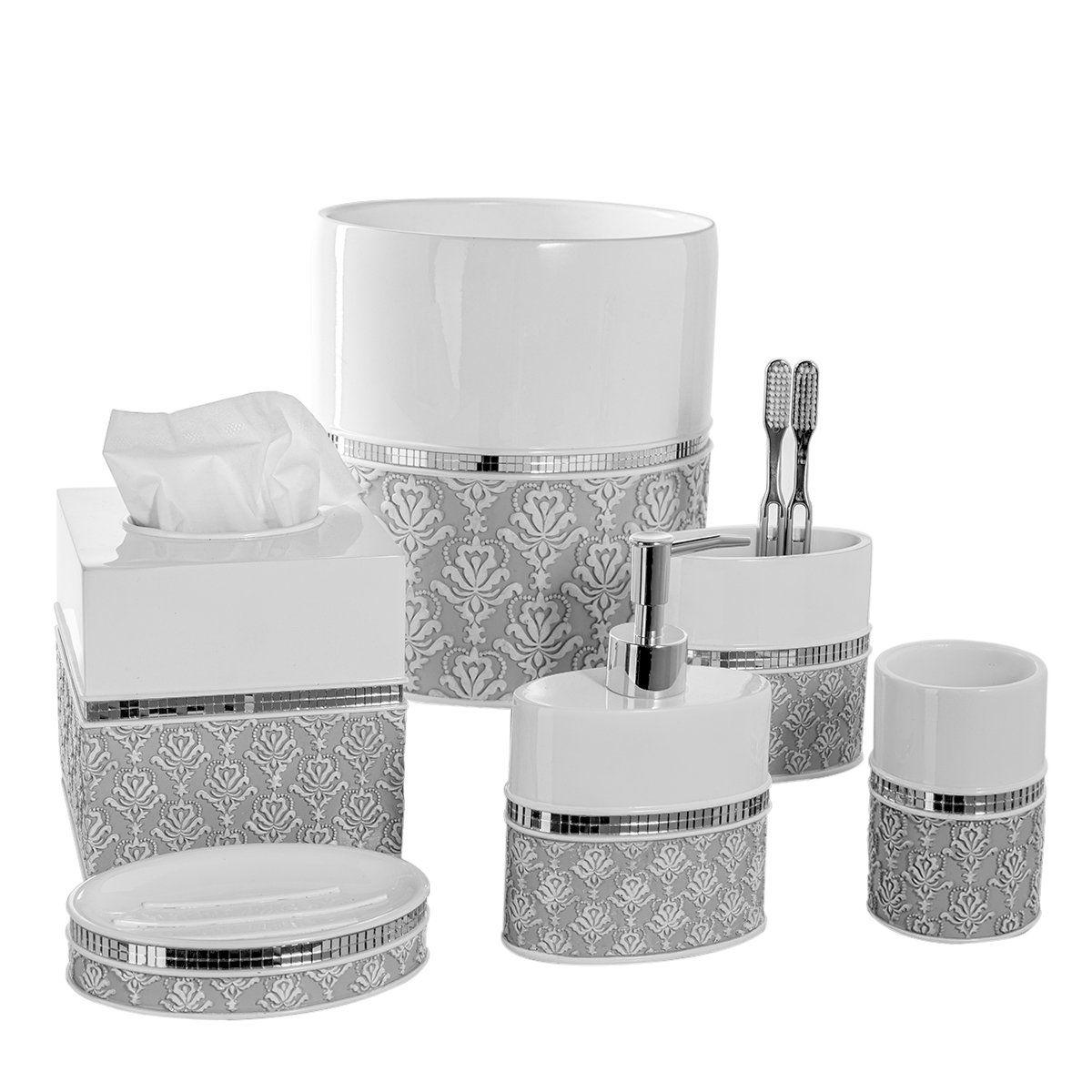 Creative Scents Mirror Damask 6 Piece Bathroom Accessory Set  Includes Decorative  Soap Dispenser/
