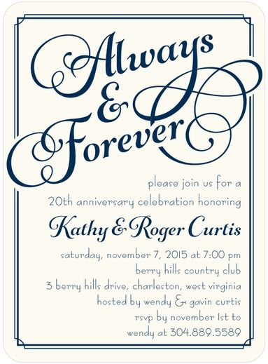 Everlasting Union - Signature White Textured Anniversary Party Invitations - Sarah Hawkins Designs - Stormy Blue - Blue : Front