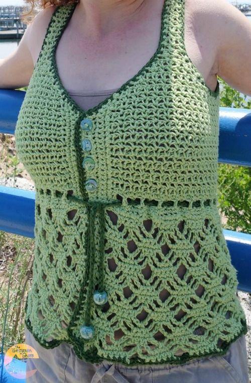 Beach Grass Free Tank Top Crochet Pattern Crochet Tops Pinterest