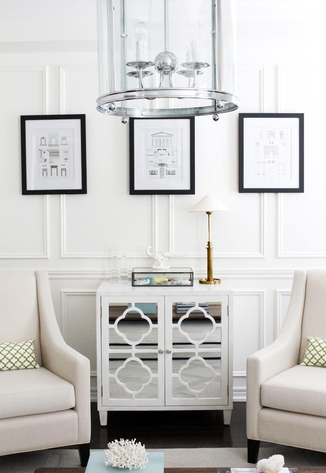 Living room, full wall wainscoting, Edwardian lantern, mirrored ...