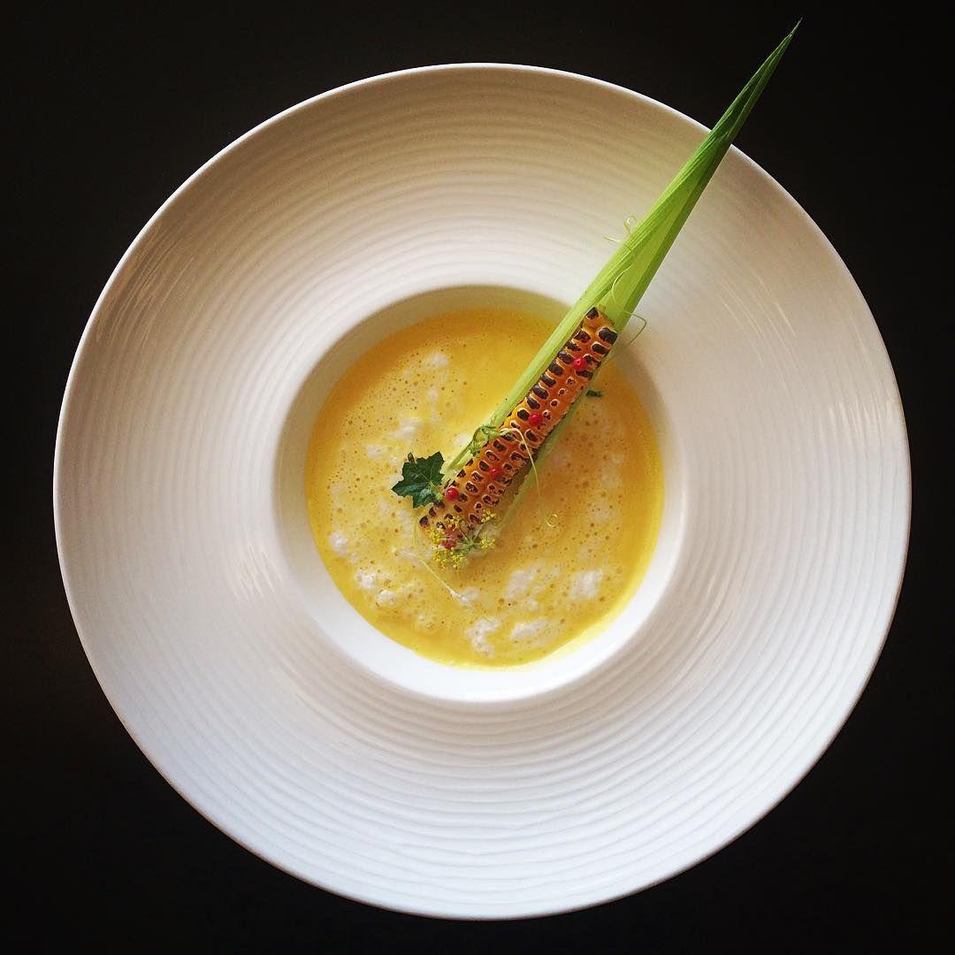 Cold corn soup mixed with cream foam/Just lit bit saffron flavor/grilled corn.