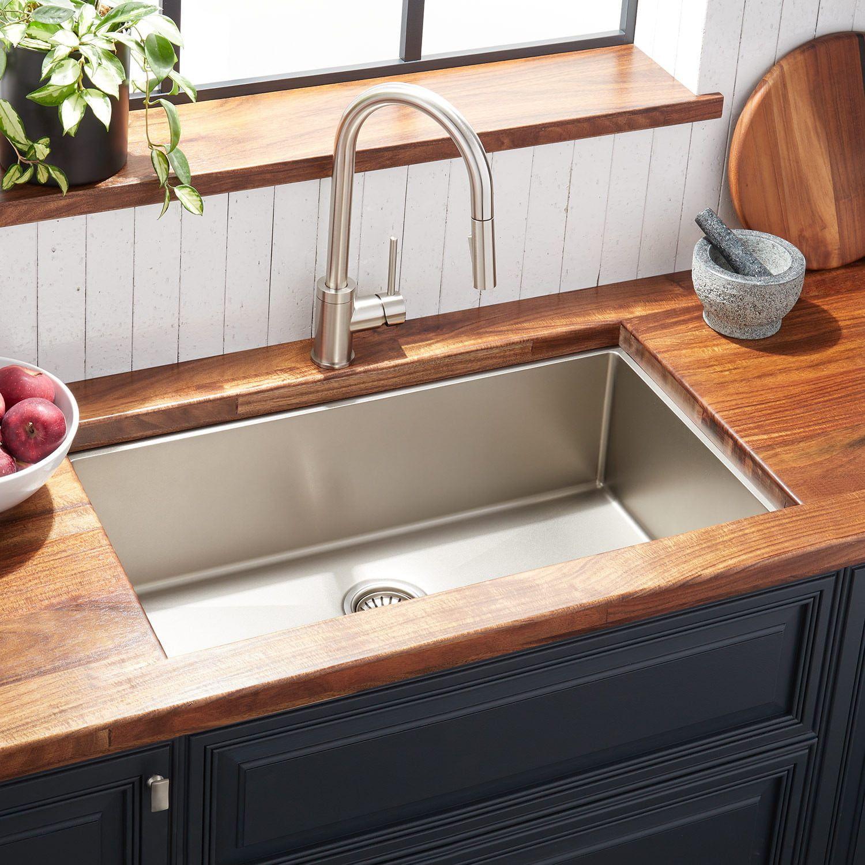 32 Atlas Stainless Steel Undermount Kitchen Sink Pewter