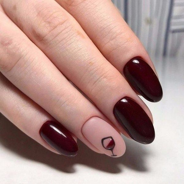 chic burgundy nail design
