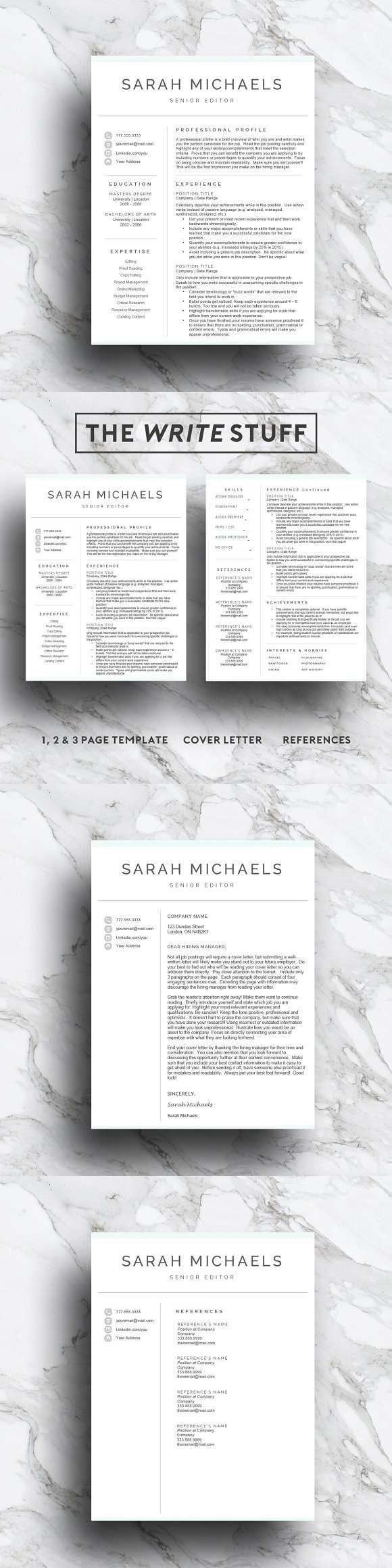 Resume Template| CV (1, 2 & 3 Page). Resume Templates