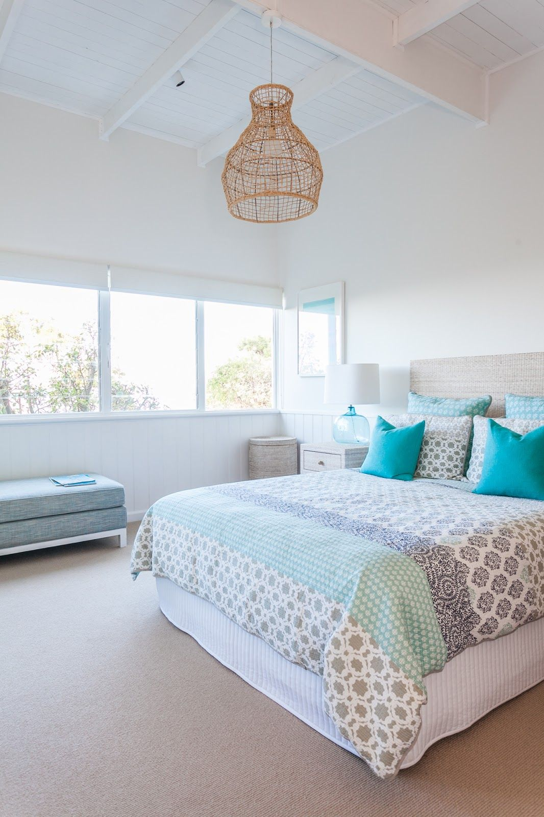 Beach cottage master bedroom - Shades Of Aqua Turquoise Coastal Style Beach Cottage Bedroomscoastal