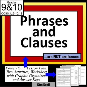 Phrases And Clauses Participial Phrases Nouns Lesson Plan