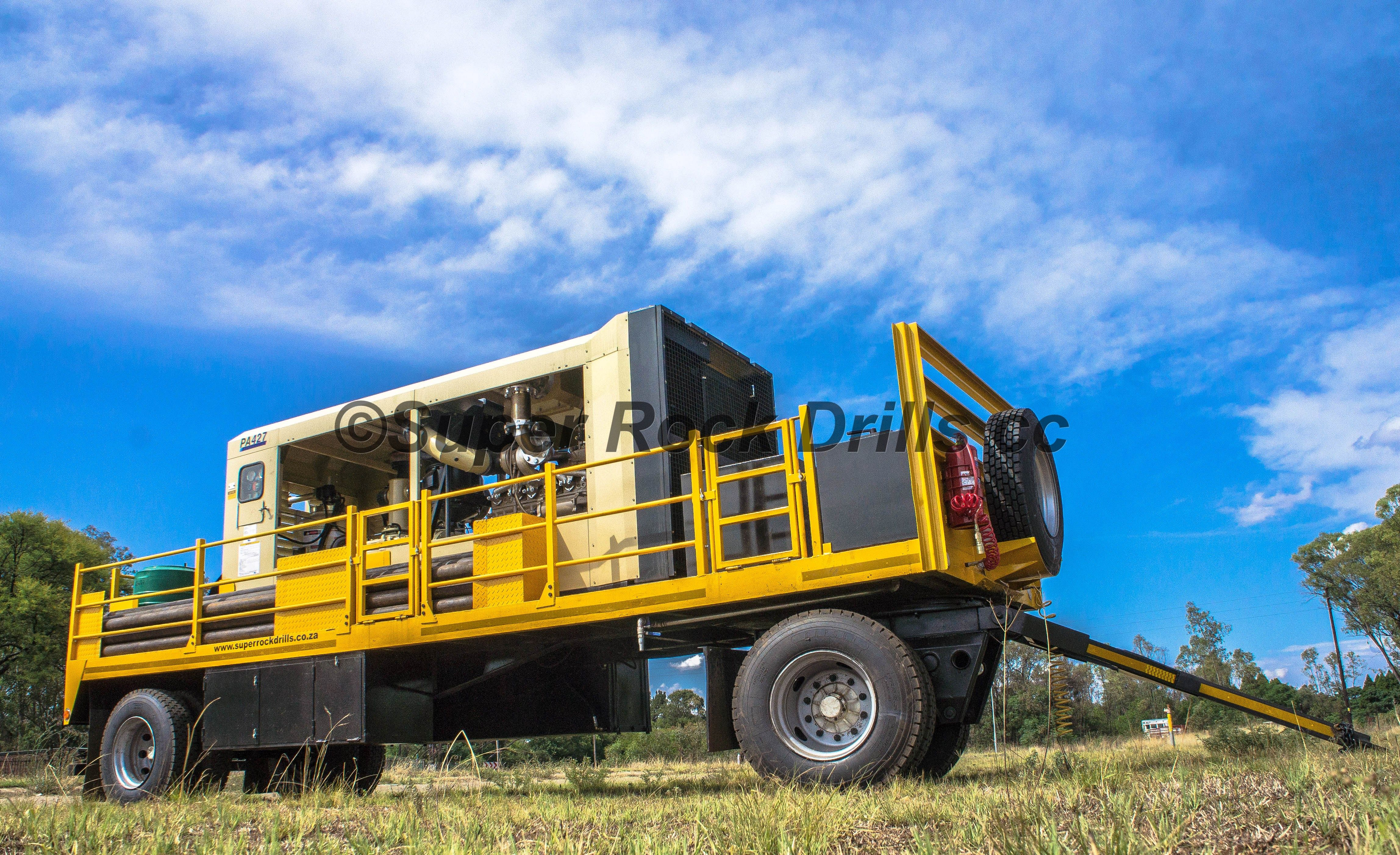 A Doosan compressor mounted onto a trailer. Drilling rig