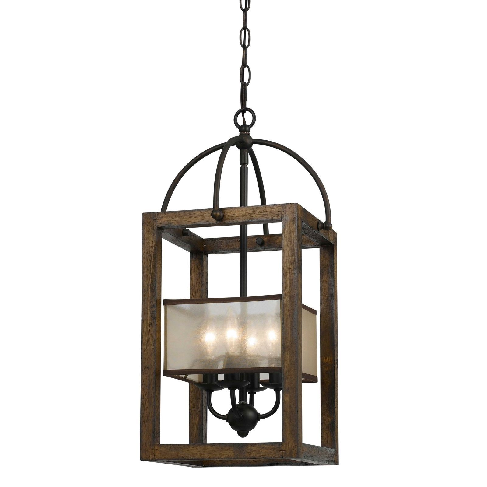 Mission Bronze Metal And Wood 4 light Chandelier