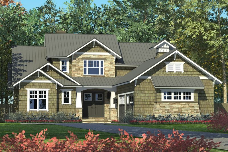 Craftsman rendering lamare house plan 3110 front view for House plans with garage on side