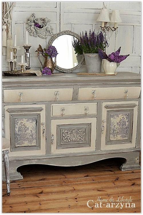 Grey Toile De Jouy Hutch Cabinets Shabby Chic Furniture Shabby