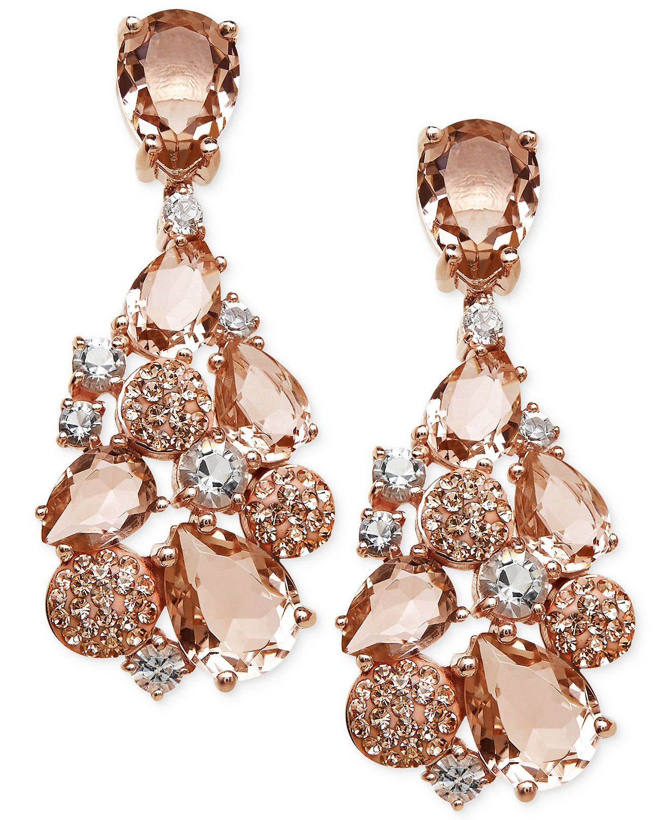 Kaleidoscope Pink Swarovski Crystal Mosaic Drop Earrings In 18k Rose Gold Over Sterling Silver Jewelry Watches Macy S