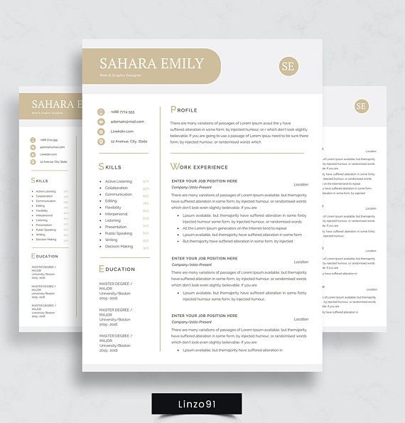 Minimal resume / CV template for word / Two pages resume / \ - m w resume