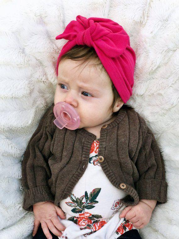 Hot Magenta Hat: (jersey) w/ Top Knot - baby turban, newborn hat, baby hat, hospital hat, baby bow hat, jersey baby hat, premie hat #premiebabyhats Hot Magenta Hat: (jersey) w/ Top Knot - baby turban, newborn hat, baby hat, hospital hat, baby bow h #premiebabyhats