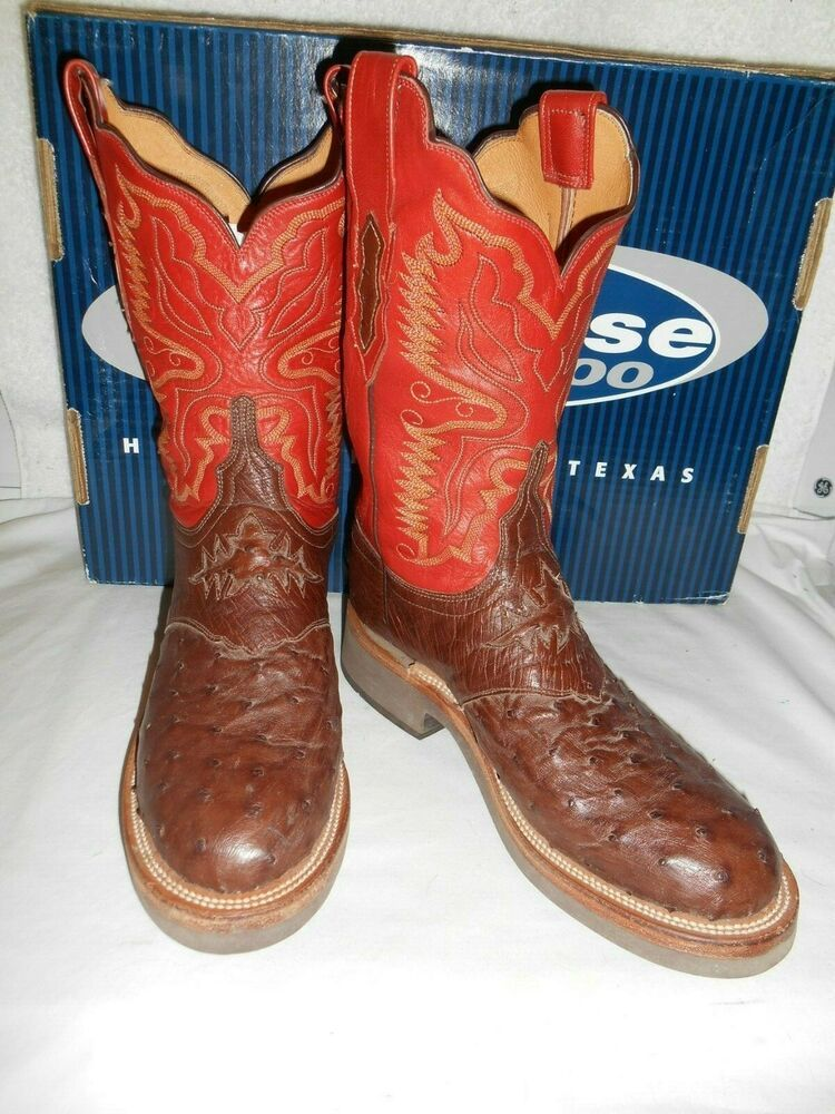 41458f18c7e eBay Advertisement) 10 C Lucchese 2000 Cigar Brown & Rust Full Quill ...