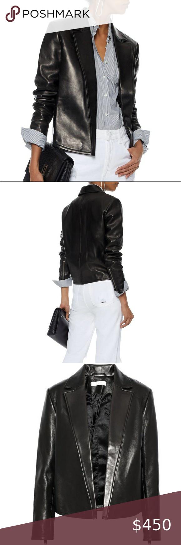 Iro Encris Black Leather Open Blazer Jacket Moto Open Blazer Jacket Iro Leather Jacket Lamb Leather Jacket [ 1740 x 580 Pixel ]