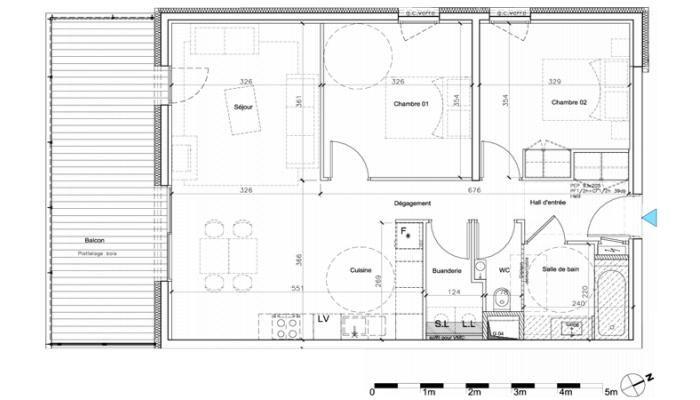 Cliquez pour agrandir le plan de appartement neuf T3 de 6975m² à