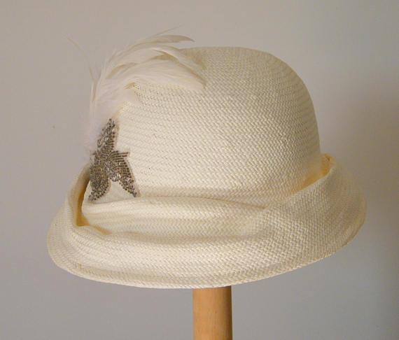 e64653896e51ad off white summer hat/ ladies wedding hats UK/ womens dress hats/ womens  fashion hat/ ladies cloche h