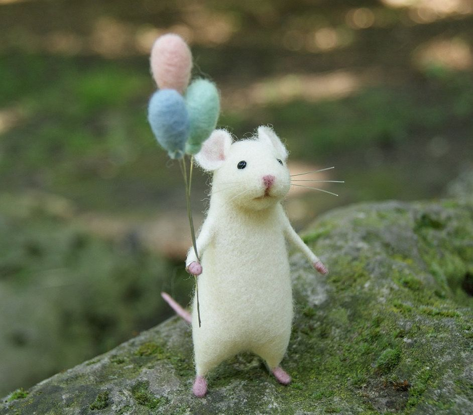 Needle felted mouse, White Cute mouse, mouse, Needle ...