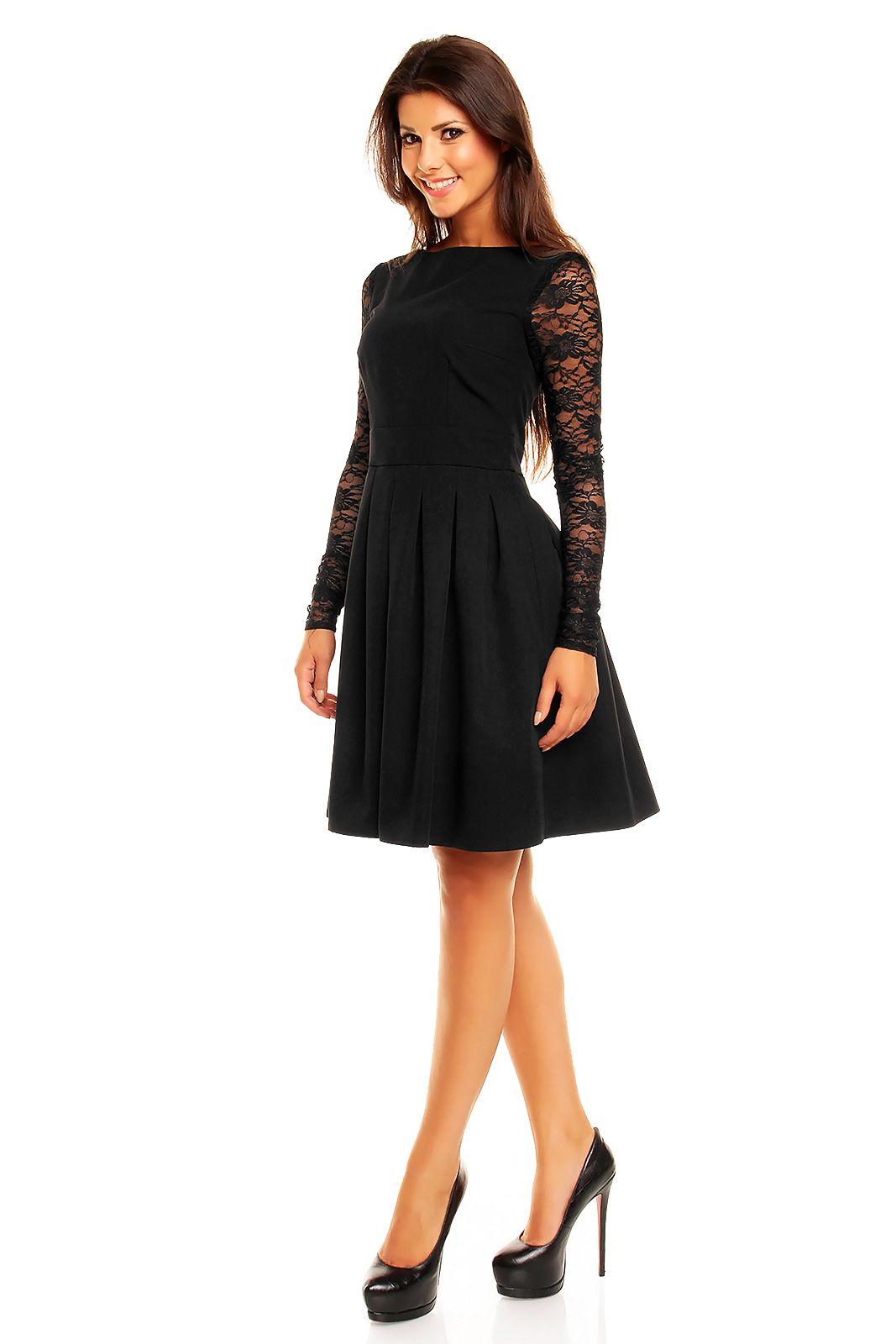 Piekna Czarna Sukienka Kontrafaldy I Koronkowe Rekawki Beautiful Black Dress Http Besima Pl