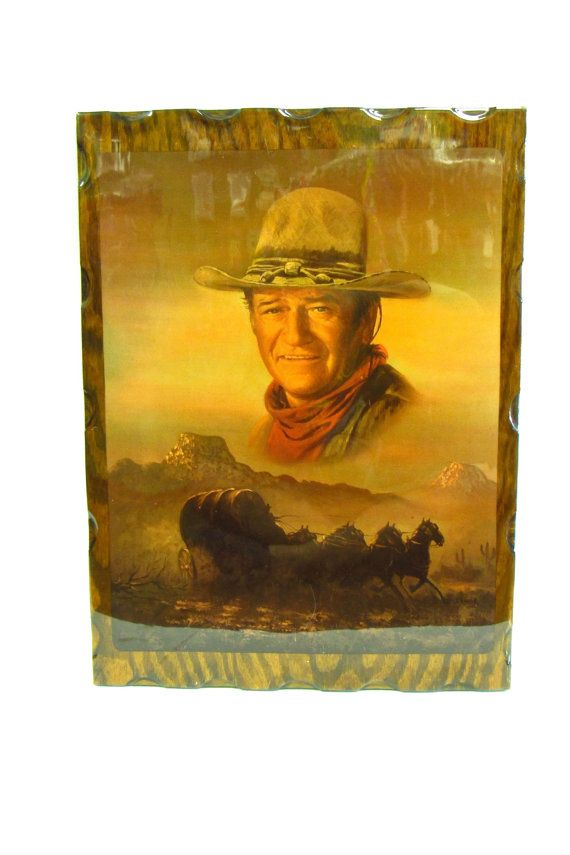 Vintage John Wayne Decoupage Wall Hanging Wall Hanging Decoupage Vintage