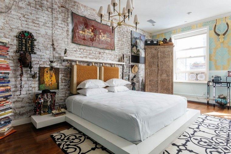 Mur en briques  un bel accent dans la chambre à coucher
