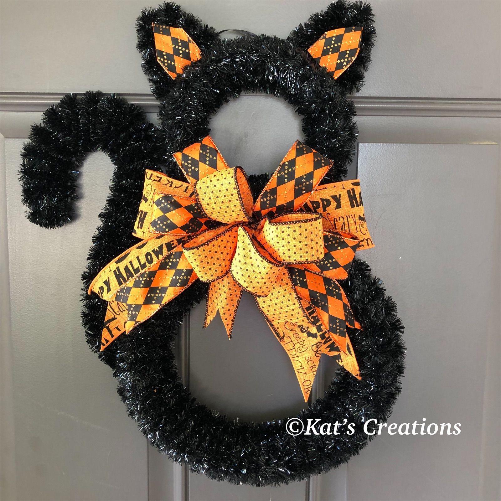 Black Cat Halloween Wreath Halloween Wreath Halloween Decorations Halloween Crafts