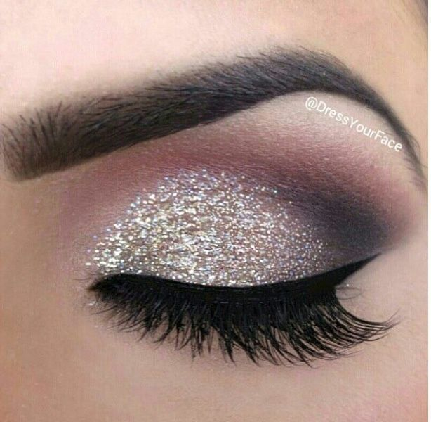 Prom Makeup For Hazel Eyes And A Pink With Silver Strip Dress